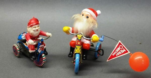 Lot of 2 Wind Up Santa Clauses on Tricycles- Made in Japan and Hong Kong