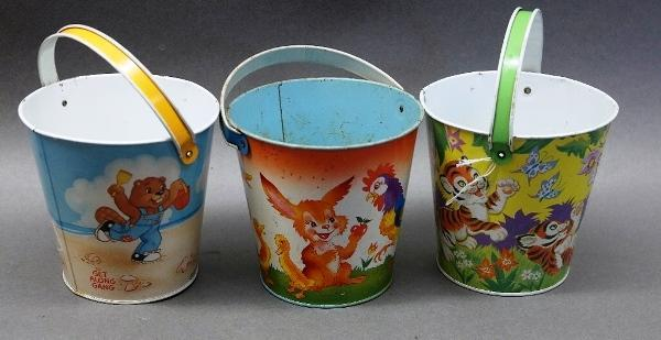 Lot of 3 Ohio Art Tin Litho Sand Pails- Get Along Gang, Farm Animals, Tiger Cubs
