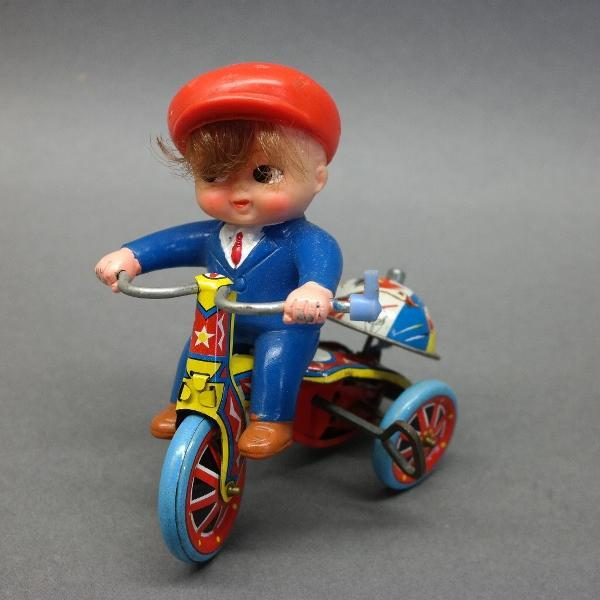 Tin Litho Boy on Tricycle Wind-Up Toy