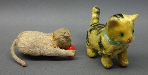 Lot of 2 Old Wind-Up Furry Cats-Ball Chaser and Walker
