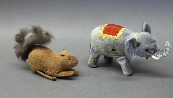 Lot of 2 Early Wind-Up Animals-Circus Elephant & Jumping Squirrel