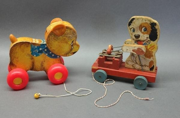 Lot of 2 Fisher-Price Pull Toys-Merry Mutt & Cry Baby Bear