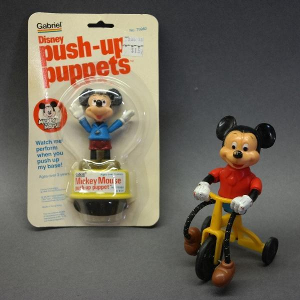 Lot of 2 Mickey Mouse Plastic Toys-Push Up Puppet/Mickey on Tricycle