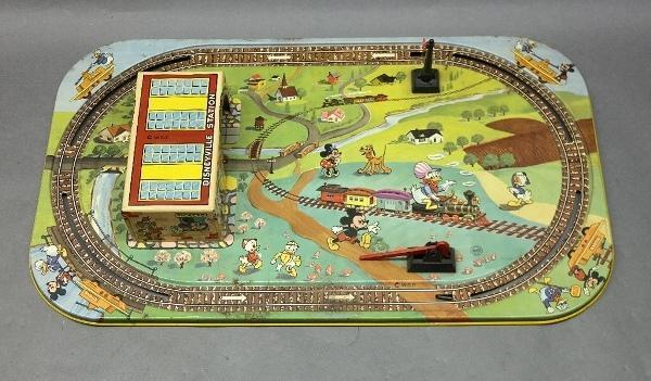 Early MARX Walt Disney Tin Train Board w/Station