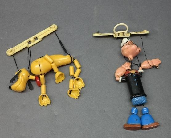 Lot of 2 Small Plastic Puppets-POPEYE & PLUTO