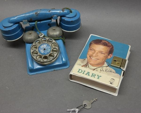 Lot of 2 Toys-DR. KILDARE Diary & Steel Kids Telephone