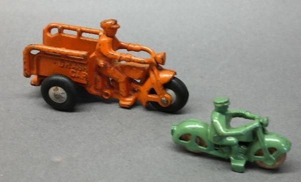 Lot of 2 1930s HUBLEY Cast Iron Motorcycles-Harley & Crash Car