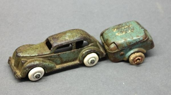 Arcade Cast Iron Ford Sedan w/Red Cap Trailer