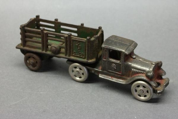 Arcade Cast Iron Semi Truck w/Stake Side Trailer