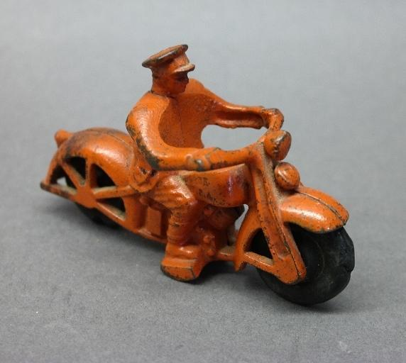 Arcade Cast Iron Harley Motorcycle-Orange