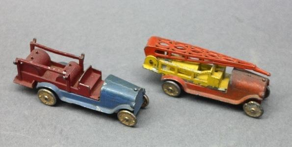 Lot of 2 Early TOOTSIE TOY Fire/Pumper Trucks