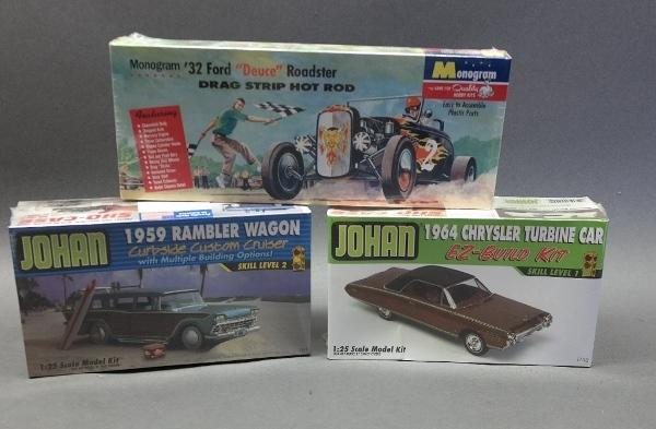 Lot of 3 Model Kits-Monogram '32 Ford + Johan Rambler & Chrysler