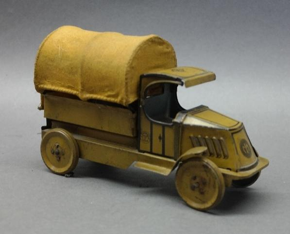 Early Chein Tin Litho Army Transport Truck with Canvas Canopy