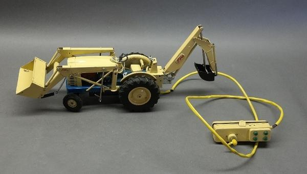 Battery Operated Remote Control Ford 4000HD Industrial Tractor with Backhoe and Loader- Japan Tin Litho