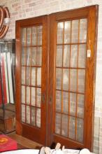 Set of American Oak & Glass Doors
