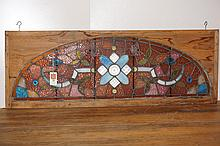 American Victorian Arched Stained Glass Window