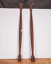 Pair of American Turned Wood Columns