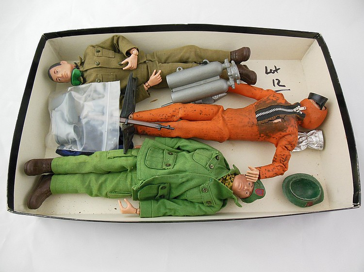 3- Assorted 1960's GI Joe's w/ Accessories