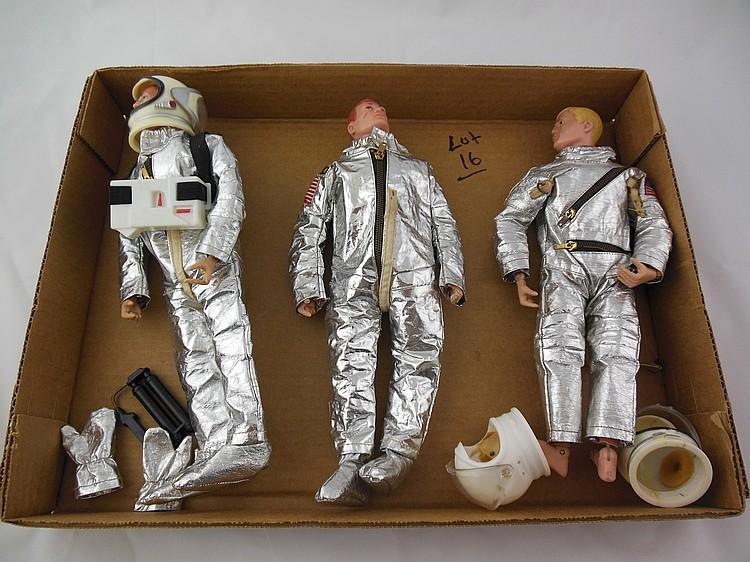 3- 1960's Astronaut GI Joe's w/ Accessories