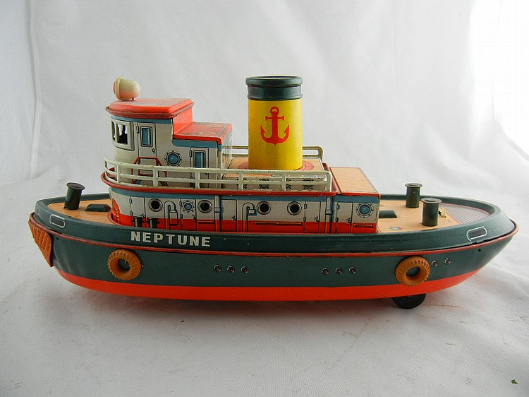 Modern Toys Battery Op Tin Litho Neptune Tug Boat