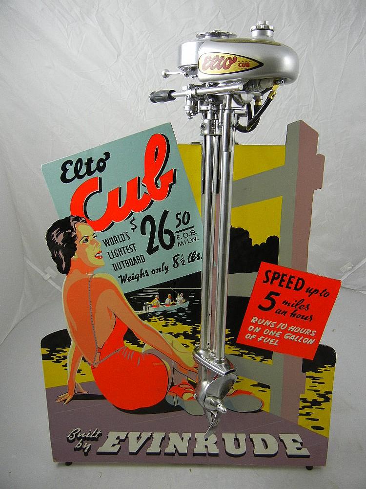 Evinrude Elto Cub Outboard Motor Display (Restored Motor, Reproduction Display Board)