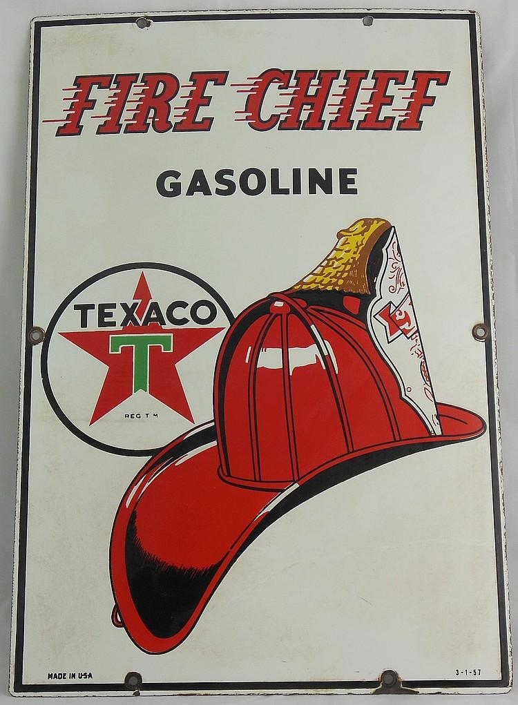 Texaco Fire Chief Porcelain Sign