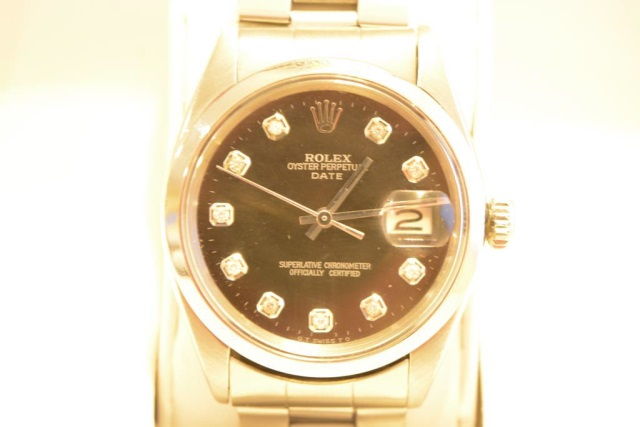 Mens Black Face Diamond Rolex Watch