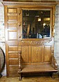 American Victorian Oak Hall Tree w/ Carved Lion Handles and Mirror