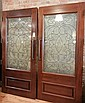 American Mahogany and Beveled Glass Doors from a Bank in Michigan
