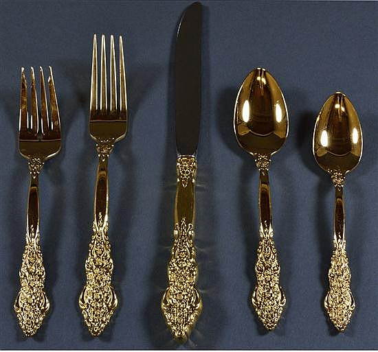 1847 ROGERS GOLD-PLATED FLATWARE SET