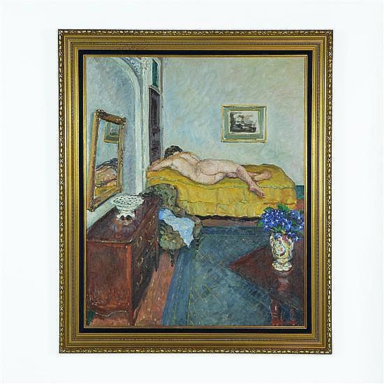 ALBERT LEMAITRE, (Belgium, 1886-1975), Reclining Nude, Circa 1915, Oil on canvas, 48 x 32 inches (121.9 x 81.3 cm)
