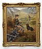 Alexander Rosell (1859-1922), Scottish Crofter with Another Figure and Dogs, Signed Oil on Canvas, height 24 in; depth 19.5 in, Alexander Rosell, Click for value