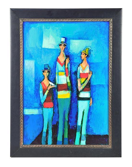 DAVID ADICKES, b. 1927, THREE FRIENDS, AGAINST BLUE, Oil on board, 31 1/2 x 22 inches (80 x 55.9 cm)