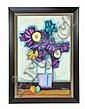 DAVID ADICKES, b. 1927, PURPLE FLOWERS, Oil on board, 27½ x 18½ inches (69.9 x 47 cm)