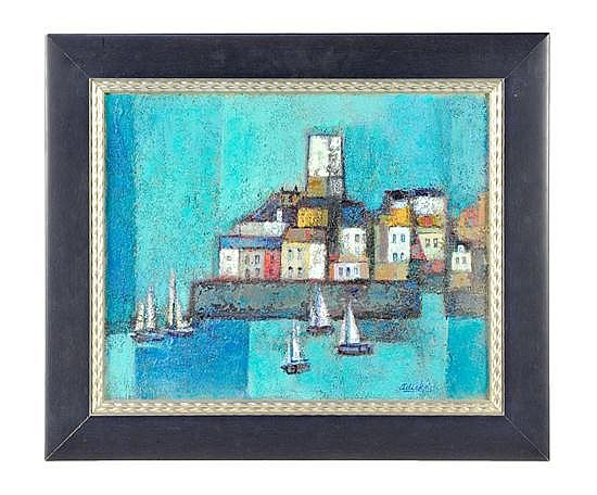 DAVID ADICKES, b. 1927, FRENCH ANTIBES IN BLUE, Oil on board, 16½ x 21 inches ( 41.9 x 53.3 cm)