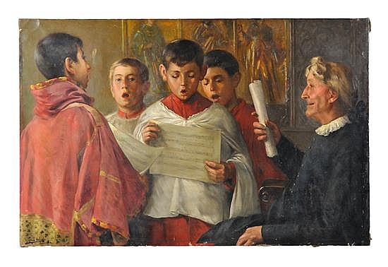 RICO CEJUDO, (Spanish, 1864-1939), Choir Boys, Circa 1880s, Oil on canvas, 33 x 51 1/4 inches (83.82 x 130.18 cm)