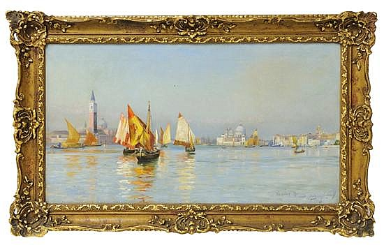 THOMPSON HODGSON LIDDELL, (British, 1860-1925), Venice Morning, Looking at Murano, 1883, Oil on canvas, 20 1/2 x 36 inches