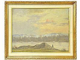 RUDOLF CONRAD ERICH ALLWARDT, (German, 1902-1983), Winter in the Platte River Valley in Attendorn, German, Oil on board, framed
