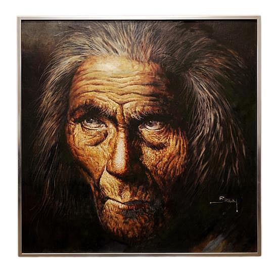 JORGE TARALLO BRAUN, (Uruguayan, b. 1951), Portrait of a Native American, Circa 1975, Oil on canvas, 36 x 36 inches (91.4 x 91.4 cm)