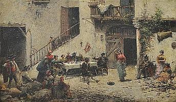 EUGENIO OLIVA Y RODRIGO, (Spanish, 1852/54-1925), Fiesta Gitana (Gypsy Festival), Oil on panel, 7 1/2 x 12 5/8 inches (19.1 x 32.1 c...