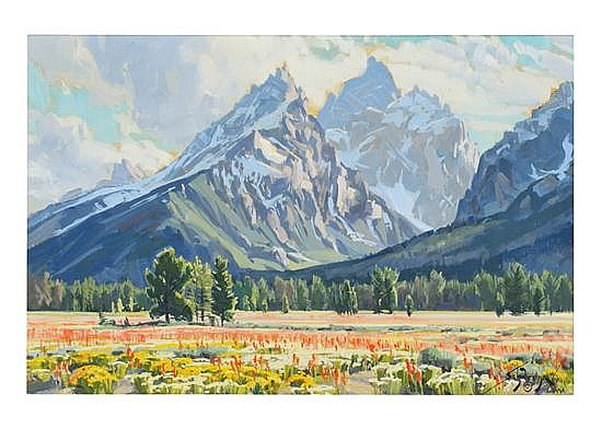 CONRAD SCHWIERING, American, 1916-1986, Spring in the Tetons, Oil on board, 19 x 29 inches (48.3 x 73.7 cm)
