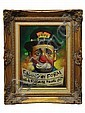 AN OIL ON CANVAS OF A CLOWN BY CHUCK OBERSTEIN