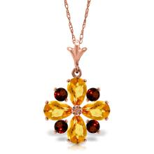 14K. SOLID GOLD NECKLACE WITH CITRINES & GARNETS