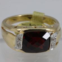 Genuine 4.04 ctw Garnet Ring 14KT Yellow Gold