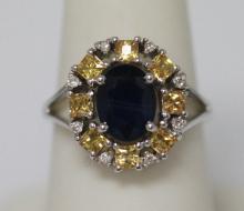 3.72 CTW YELLOW SAPPHIRE/SAPPHIRE/DIAMOND RING .925 STE