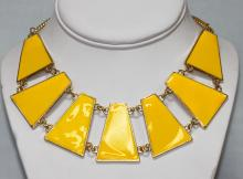 245CTW 7-SLABS YELLOW BRASS NECKLACE 18INCH