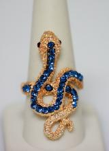 14K GOLD PLATED FASHION JEWELRY BLUE AND RED CZ SNAKE B