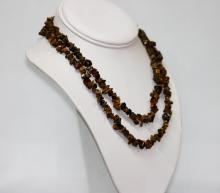 350.01 CTW Natural Un-cut Beaded Tiger Eye Necklace