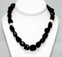 620.01 CTW BLACK ONYX WITH PEARLS NECKLACE
