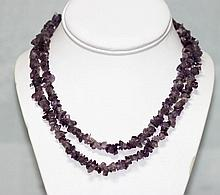 280.01 CTW Natural Amethyst Un-Cut Beaded Necklace
